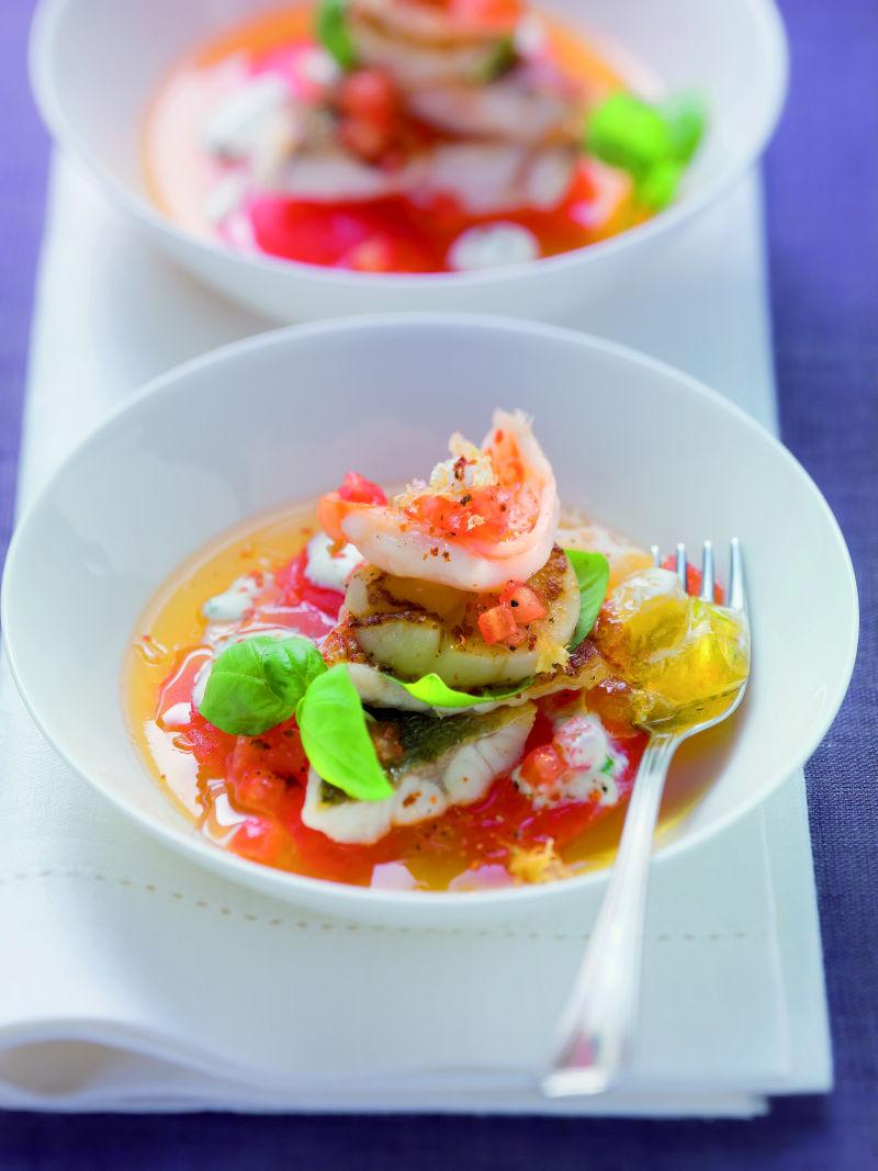 """Alfons Schuhbeck – """"'Gebratene Meeresfische auf klarem Tomatengelee mit Basilikumrahm"""""""